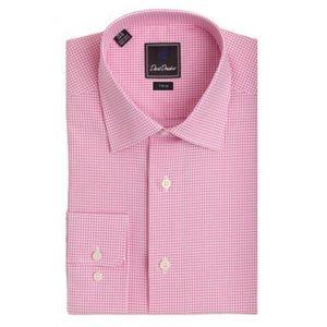 David Donahue Micro Gingham Trim Fit dress shirt